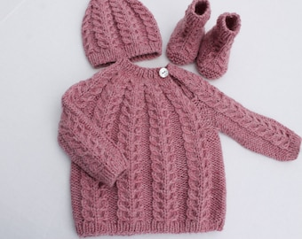 Hand Knit Baby Sweater, Hat and Booties Set. Cabled Baby Girl Set. 3 - 6 months