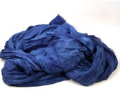 Extra Large Silk Scarf - Hand Dyed - Raw Edges- Indigo Blue