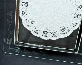 Picture Frame with Easel Engraved Beveled Crystal Vintage 1920s Wedding Anniversary Picture