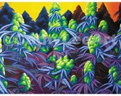 """Digital Laser Poster Print """"Sea of Purps"""" (12X19in) Cannabis Marijuana Art Series by Cathy Lee Art"""