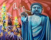"Digital Laser Poster Print ""Om"" (13X19in) Cannabis Marijuana Art Series by Cathy Lee Art"