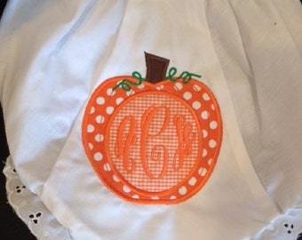 DIAPER COVER BLOOMERS with Pumpkin Applique and Monogram