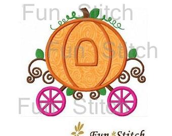 Pumpkin carriage applique machine embroidery design