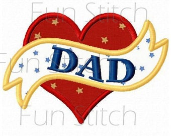 Love dad heart applique machine embroidery design