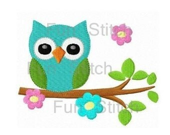 Cute owl on flower tree machine embroidery design