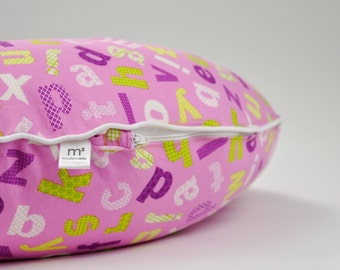 CLEARANCE, Orchid Alphabet Boppy Cover, Purple Nursing Pillow Cover, Boppy Pillow with Piping, Boppy Cover with Zipper, Boppy Slipcover