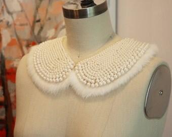 Beaded Wedding Collar with Mink Fur trim