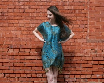 SILK & CASHMERE Pashmina Sale Hippie Boho Gypsy Caftan Mini Dress Ethnic Indian  - Bright Marine Blue - One Size - Natural