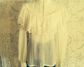 1970s  Jessica's Gunnies San Francisco, romantic lace and cotton blouse, women's medium,  Do not purchase on hold for buyer