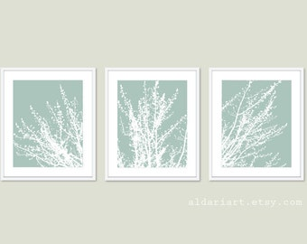 Modern Spring Tree Branches Digital Print Set Woodland Home Decor Seafoam Sage Green Contemporary