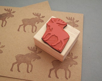 Moose Rubber Stamp - Woodland Rustic Forest Animal Bearded Antlers
