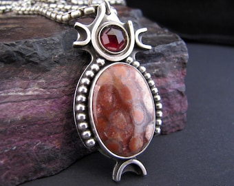Fossilized Coral with Red Garnet Pendant in Sterling