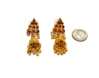 Vintage Rust And Gold Dangle Earrings