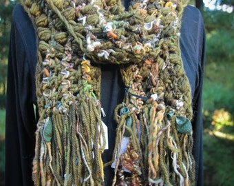 Apocalypse Now Art Scarf Dead in the Jungle Handspun HALLOWEEN SALE