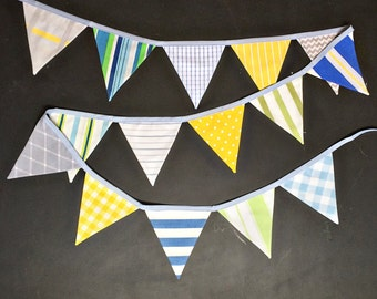 Baby Boy Bunting Banner / Vintage Nursery Decor / Baby Shower / First Birthday Party Decoration / Fabric Pennant Flag Garland / Cake Smash