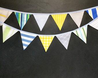 Bunting Banner / Baby Boy Nursery Decor / Fabric Flag Bunting / Pennant Garland / Blue Green Yellow Grey / First Birthday / Baby Shower