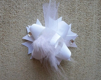 Hair Bow---MINI Funky Fun Over the Top Bow---Pure White