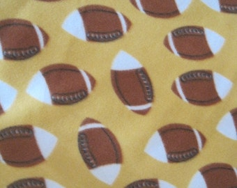 Footballs All Over on Yellow with Black Blanket - Ready to Ship Now