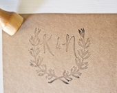 Laurel Monogram Wedding Stamp with Handwritten Calligraphy Customized Initials