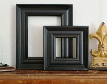 Sizes 8x10 to 12x12 Wood Picture Frame / Tuscan Black / Empire Style