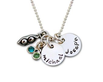 Custom order includes 30 inch bead chain: Hand Stamped   Two Peas in a Pod.... Personalized Bezel Set Birthstone Silver Necklace