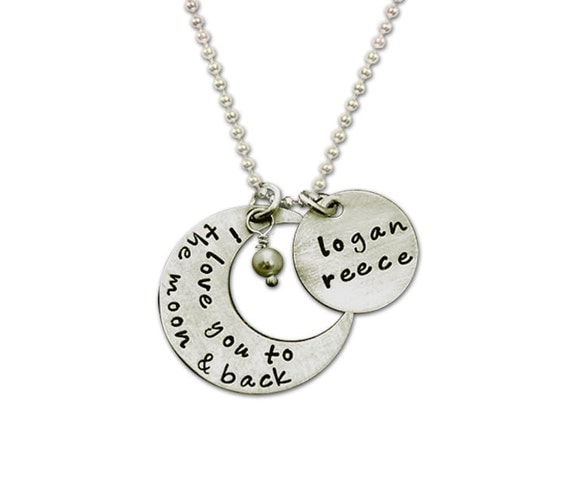 I Love YOU to the moon Necklace Charm Silver, Moom Charm with Name Child Birthstone, To the Moon Jewelry, Mothers Necklace, Personalize Moon