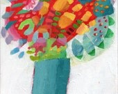 """Original acrylic painting 10"""" x 8"""" flowers floral colourful gift garden bright cheerful"""