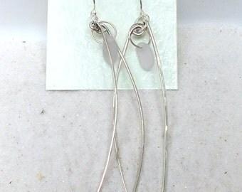 Sterling Silver Earrings - Hand Forged Earrings - Sea Glass