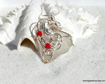 Sterling Sea Glass Necklace - Wire Wrapped Pendant - Beach Glass Jewelry - Ohio State Necklace - Lake Erie