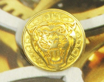 Metal Buttons - Tiger Roaring Metal Buttons , Gold Color , Shank , 0.91 inch , 6 pcs
