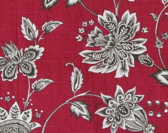 FRENCH COUNTRY floral, currant/red/brown/white designer multipurpose fabric