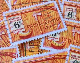 Daniel Boone 30 Vintage US Postage Stamps American Folklore Pioneer Wood Grain Gold Brown Scrapbooking Ephemera Frontier Kentucky Philately