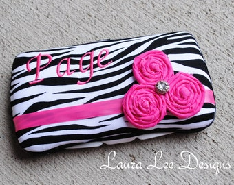 Zebra and Hot Pink Flowers, Travel Baby Wipe Case, Personalized Wipe Case, Diaper Wipes Case, Baby Shower Gift, Wipe Holder, Wipe Clutch