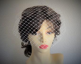 Bridal Ivory Birdcage 12inch veil, Merry Widow netting Ivory cage veil, Vintage veil, cage veil, Ivory lager netting veil, Bridal veil