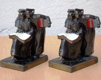 K & O Deco Three Scholars Brass Bookends