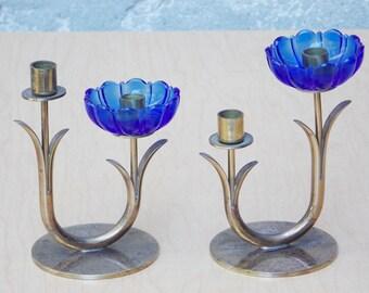 Pair Ystad Metall Blue Glass Flower Brass 2 Candle Holders