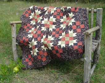 Handmade Black and Coral Lap Quilt