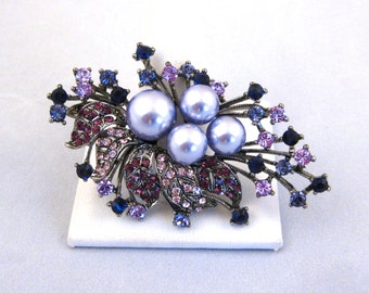 Vintage Jeweled Purple Designer Glamour Girl Necklace Pendant Brooch Pin