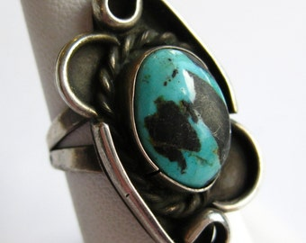 Vintage Navajo Indian Sterling Silver Old Green Turquoise Ring size 6.5
