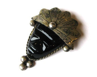Vintage Mexican Sterling Silver & Onyx Exotic Tribal Carved Stone Warrior Mask Large Brooch Pin