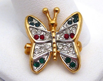 Vintage Jeweled Red White Blue & Green Rhinestone Gold Butterfly Small Brooch Pin