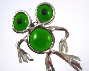 Vintage Large Silver Tone & Green Glass Frog Necklace Pendant