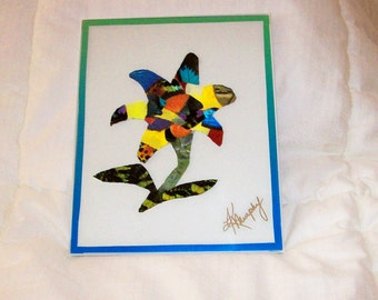 """Real  Butterfly Wings Framed """" Lily Flower """" Collage"""