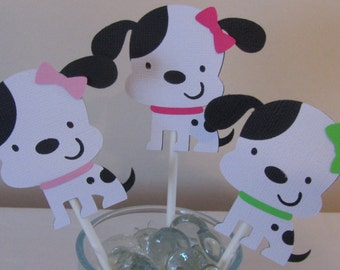 12 Black and White Girl puppy dog with Green, Hot Pink, and Light pink Bow Cupcake Toppers