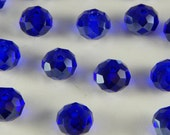 20 Pieces of Glass Jewelry Beads - 8mm Round, Faceted Cut, Rondelle Shape, Medium to Dark Blue Color, 1mm Hole Size, Small Beads, Spacers