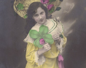 Lucky Little Lady, Hand-Tinted Postcard of Girl with Shamrock, circa 1905