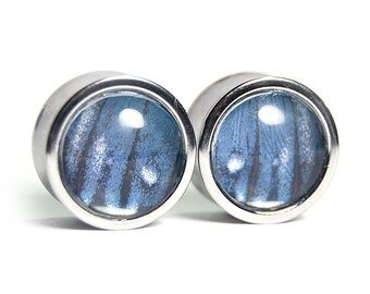 """3/4"""" Butterfly Wing Plugs - Stainless Steel Double Flare - Gauges Stretchers Body Jewelry"""