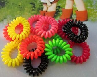 100 Small Telephone Cord Hair Ties, Assorted color telephone wire headbands, Telephone wire hair bands, ponytail holders, hair bindings