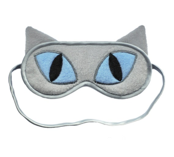 Cat Sleep Mask, Refinery29 Featured, Gray cat blindfold sleeping eye mask, Blue eyes animal sleepmask, Cat ears gift, As seen on Refinery29