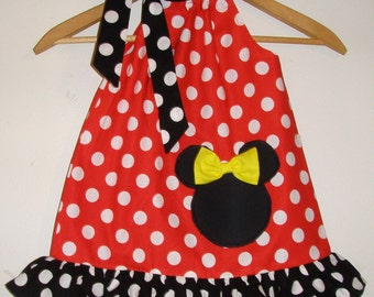 Minnie Mouse SALE 10 % off code is tilfeb  Red polka dots  ruffled Swing dress  with  applique  12,18 months, 2t,3t,4t,5t,6